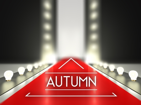 Fashion runway, autumn collection on red carpet catwalk
