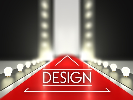 Fashion runway, design on red carpet catwalk Stock Photo
