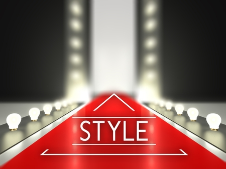 Fashion runway, style on red carpet catwalk Stock Photo