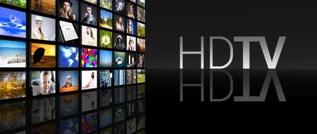 Pantallas de televisión HD TV en el fondo negro