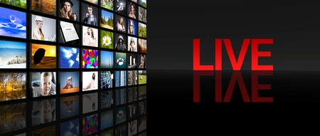 Live television screens on black background photo