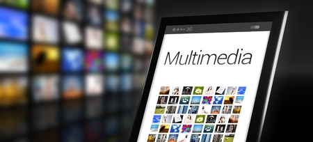 multimedia icons: Multimedia, tablet with many icons