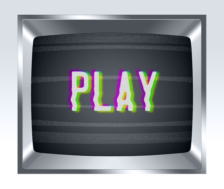 screen type: Play on old tv screen with noise Stock Photo