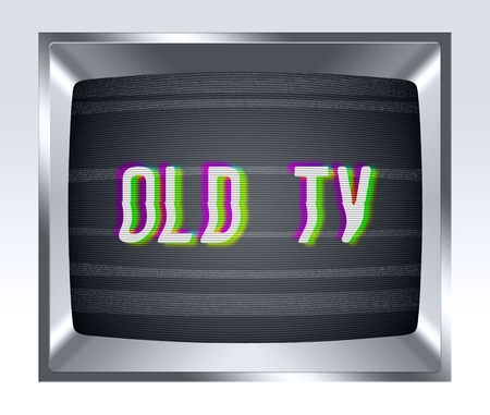 breakage: Retro old tv screen with noise Stock Photo