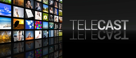 telecast: Telecast Television screens on black background