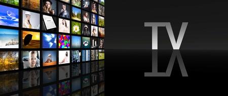 Television screens on black Stock Photo - 29547951