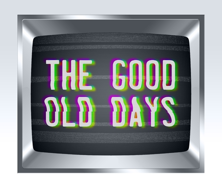the old days: The good old days on old tv screen with noise Stock Photo