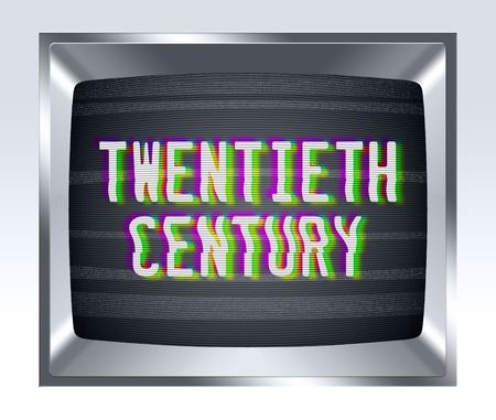 television antigua: Del siglo XX en la vieja pantalla de la TV con el ruido