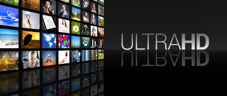 Ultra HD Television screens on black  Stock Photo - 29547954