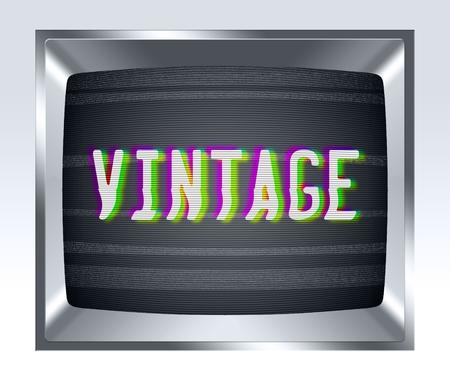 television antigua: Vintage en antigua pantalla de tv con el ruido