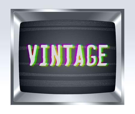 breakage: Vintage on old tv screen with noise