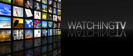 Watching tv screens on black background