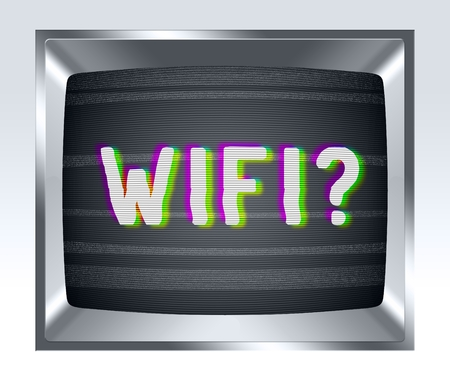 crt: Wifi on old tv screen with noise Stock Photo