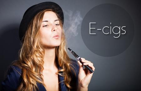 Woman smoking e-cigarette with smoke, quote photo