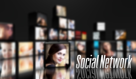Social Network concept, LCD panels on black photo