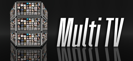 multi touch: Multi TV concept, tablets with many icons or LCD panels Stock Photo