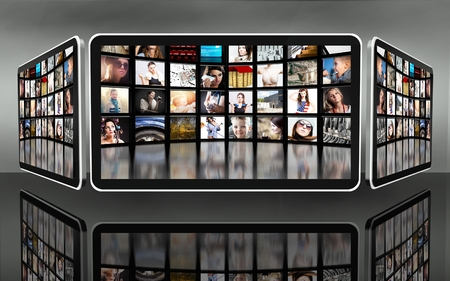 multi touch: Tablet screens with many icons on dark background