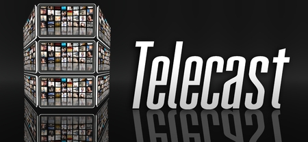 telecast: Telecast concept, tablets with many icons or LCD panels Stock Photo