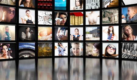 Television screens on black background photo