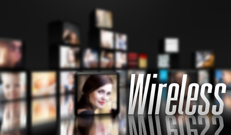 Wireless television concept, LCD panels on black Stock Photo - 29732763
