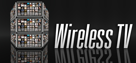 Wireless TV concept, tablets with many icons or LCD panels photo