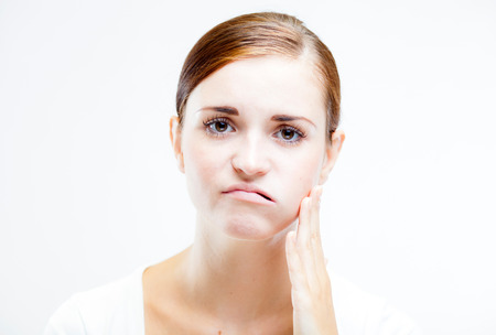 Young woman with toothache, Feeling pain tooth