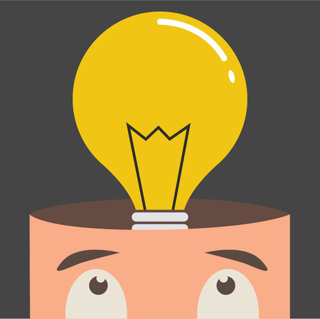 intellect: Open mind with idea light bulb concept, flat design vector illustration