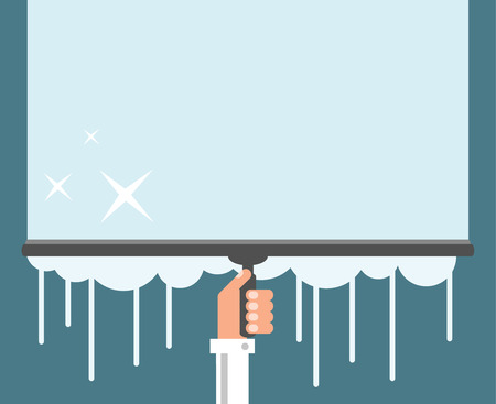 Window cleaning background, flat design vector illustration Çizim