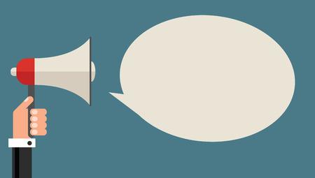 Businessman with megaphone and speech bubble, flat design vector illustration Vector
