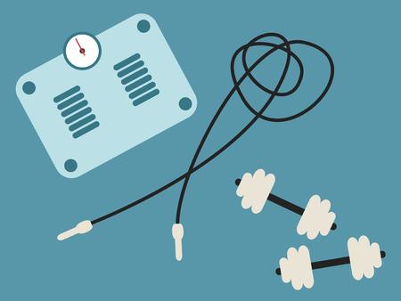 saltar la cuerda: B�scula de ba�o, saltar la cuerda y dumbbel. Concepto de la aptitud ilustraci�n Vectores