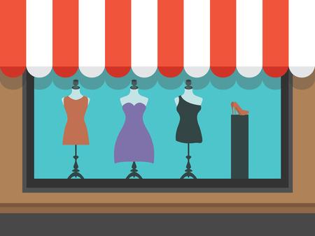 vitrine: Fashion shopfront window with mannequins Illustration