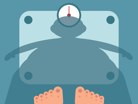 Fat man measuring weight on bathroom scale, vector illustration Ilustrace