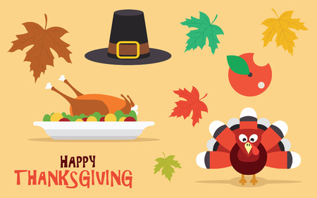 Happy Thanksgiving set with leaves, turkey and pilgrim hat, vector icons Vector