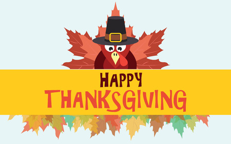 Happy thanksgiving turkey with autumn leaves, vector card
