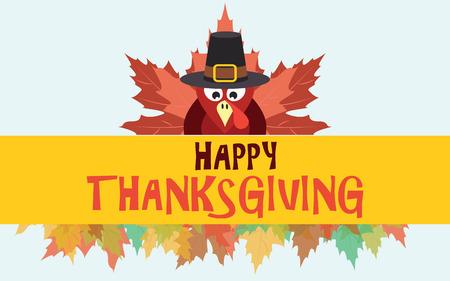 Pavo de acción de gracias feliz con hojas de otoño, vector de la tarjeta