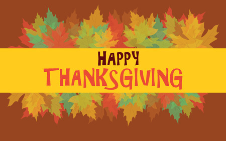 Happy Thanksgiving with colorful autumn leaves Vector