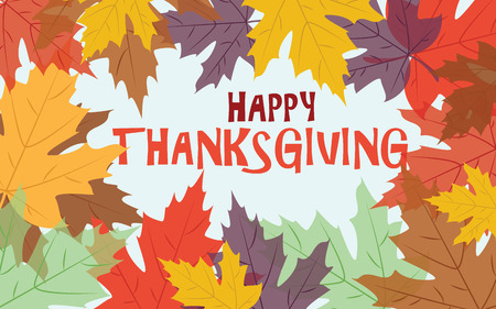 happy thanksgiving: Happy Thanksgiving with colorful autumn leaves
