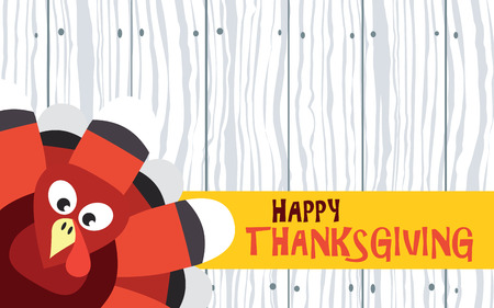 Happy Thanksgiving with turkey on wood plank Vector