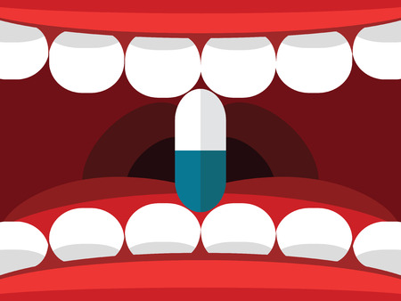 mouth pain: Medical pill tablet in open mouth