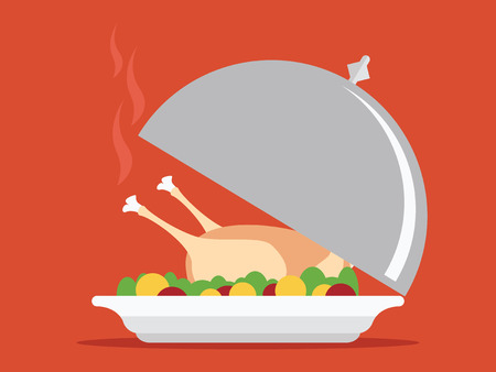 restaurant: Roasted turkey on tray illustration for Thanksgiving