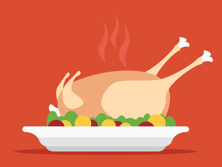 cartoon dinner: Roasted turkey illustration for Thanksgiving