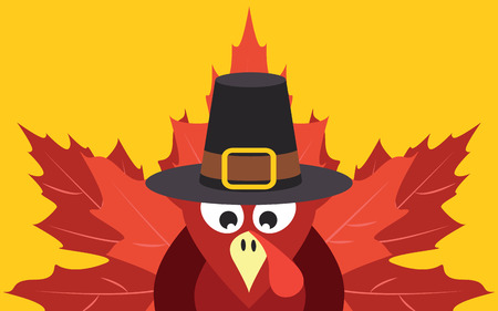 Thanksgiving turkey with autumn leaves Vector
