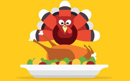 turkey thanksgiving: Pavo de Acci�n de Gracias con la cena Vectores