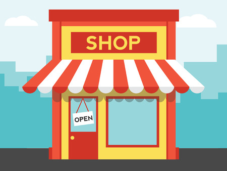 store display: shop or market, illustration background