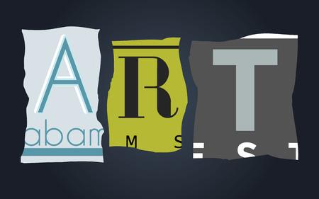 license: Art word on vintage broken car license plates, vector Illustration