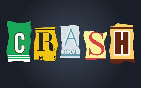license: Crash word on vintage broken car license plates, vector Illustration