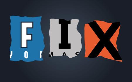 Fix word on vintage broken car license plates, vector Vector