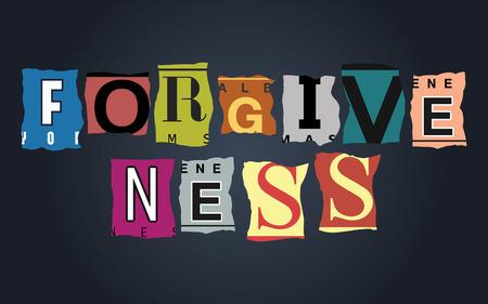 license: Forgiveness word on vintage broken car license plates, vector