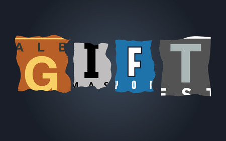 gift accident: Gift word on vintage broken car license plates, vector
