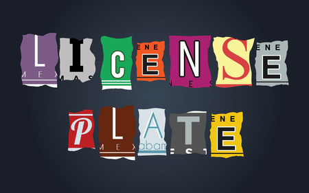 License plate word on vintage broken car plates, vector Vector